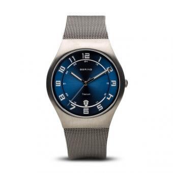 BERING Titanium Sunray 37mm Blau 11937-078 Herrenuhr