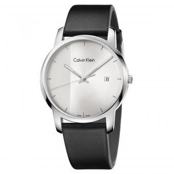 Calvin Klein K2G2G1CX Uhr City Gent Stripe Leder Silber