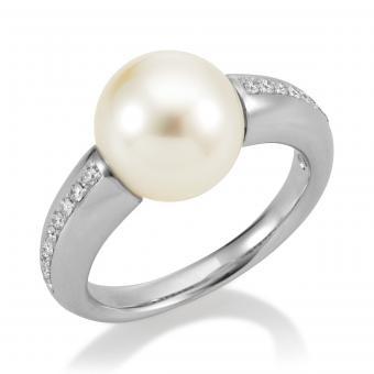 Südsee Ring Perle 750 Weißgold