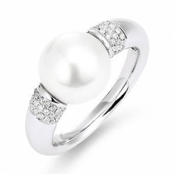 Südsee Perlenring mit Brillanten 750 Weißgold