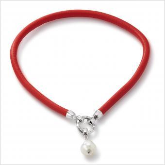 Perlenarmband Südseeperle Leder Rot