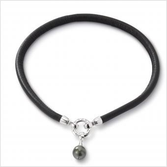 Perlenarmband Tahitiperle Leder Schwarz Silber
