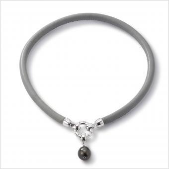Perlenarmband Tahitiperle Leder Grau